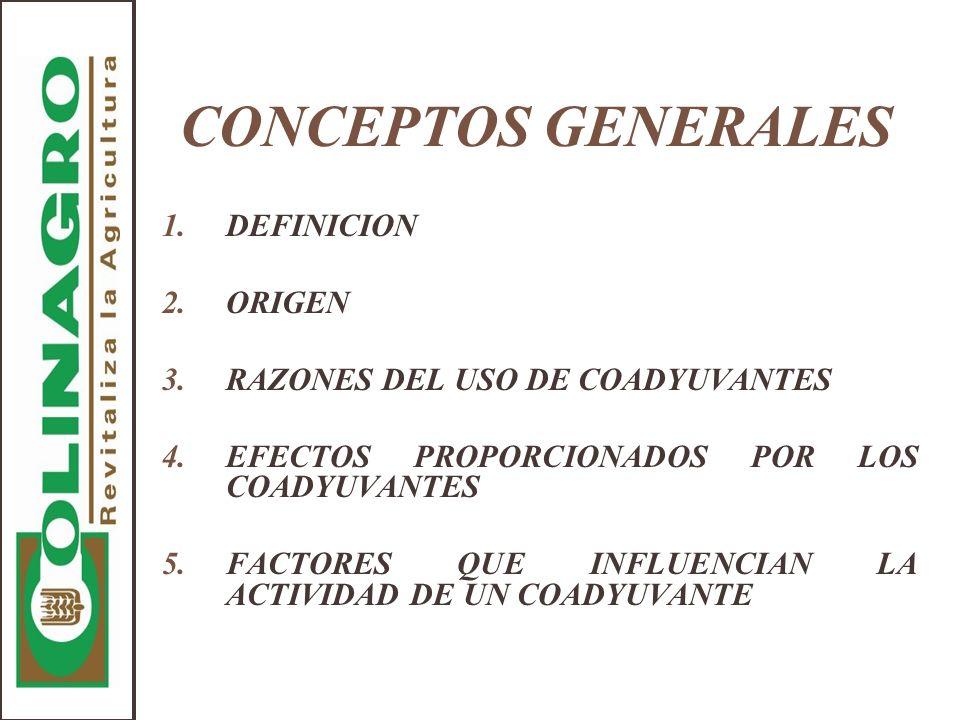 CONCEPTOS GENERALES 1.DEFINICION 2.ORIGEN 3.RAZONES DEL USO DE COADYUVANTES 4.EFECTOS PROPORCIONADOS POR LOS COADYUVANTES 5.FACTORES QUE INFLUENCIAN L