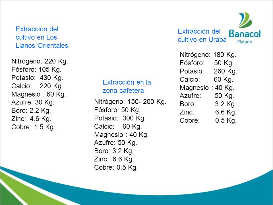 Nitrógeno: 220 Kg. Fósforo: 105 Kg. Potasio: 430 Kg. Calcio: 220 Kg. Magnesio : 60 Kg. Azufre: 30 Kg. Boro: 2.2 Kg. Zinc: 4.6 Kg. Cobre: 1.5 Kg. Extra
