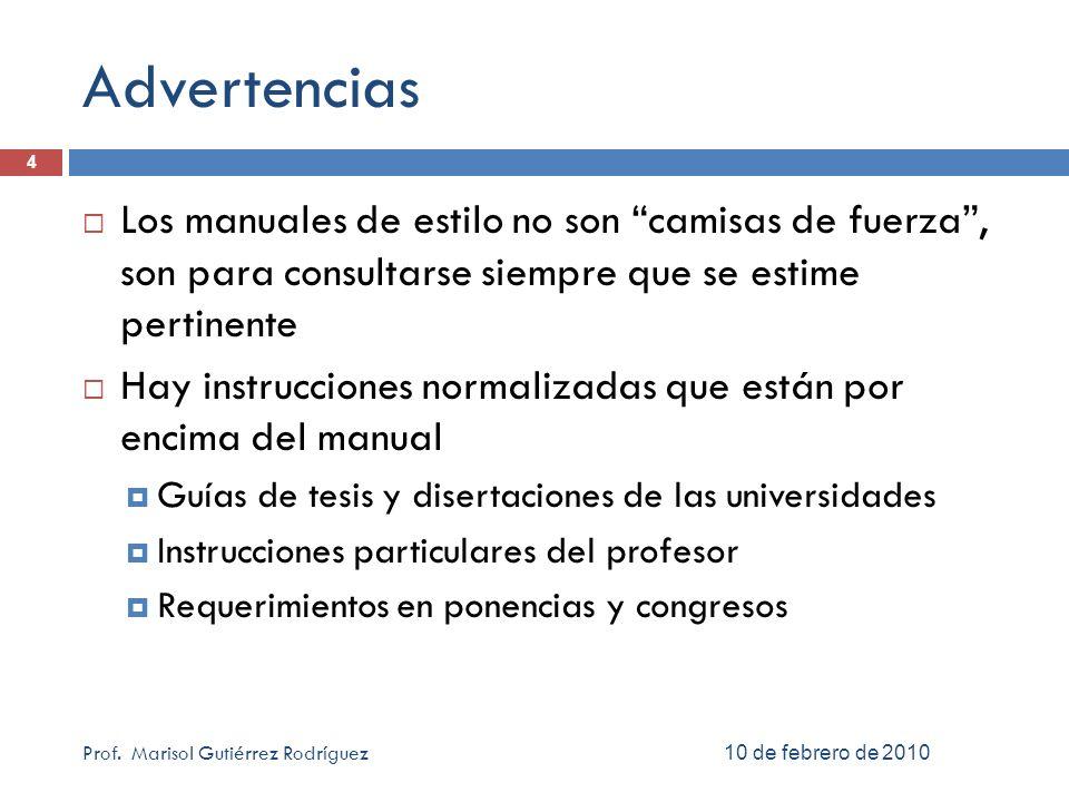 Estructura del contenido Que hay de nuevo… 6 abril 2010 15 Prof.