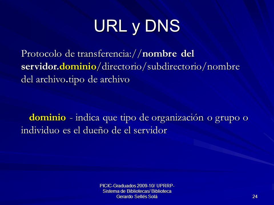 PICIC-Graduados 2009-10/ UPRRP- Sistema de Bibliotecas/ Biblioteca Gerardo Sellés Solá 24 URL y DNS Protocolo de transferencia://nombre del servidor.dominio/directorio/subdirectorio/nombre del archivo.tipo de archivo dominio - indica que tipo de organización o grupo o individuo es el dueño de el servidor dominio - indica que tipo de organización o grupo o individuo es el dueño de el servidor