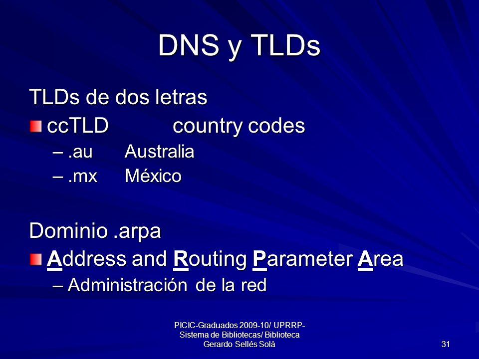 PICIC-Graduados 2009-10/ UPRRP- Sistema de Bibliotecas/ Biblioteca Gerardo Sellés Solá 31 DNS y TLDs TLDs de dos letras ccTLD country codes –.auAustralia –.mxMéxico Dominio.arpa Address and Routing Parameter Area –Administración de la red