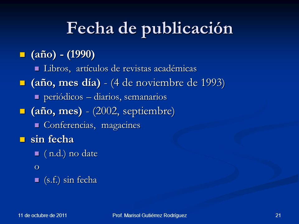 Fecha de publicación (año) - (1990) (año) - (1990) Libros, artículos de revistas académicas Libros, artículos de revistas académicas (año, mes día) -