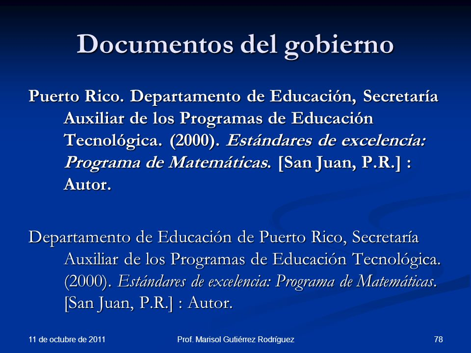 Documentos del gobierno Puerto Rico. Departamento de Educación, Secretaría Auxiliar de los Programas de Educación Tecnológica. (2000). Estándares de e
