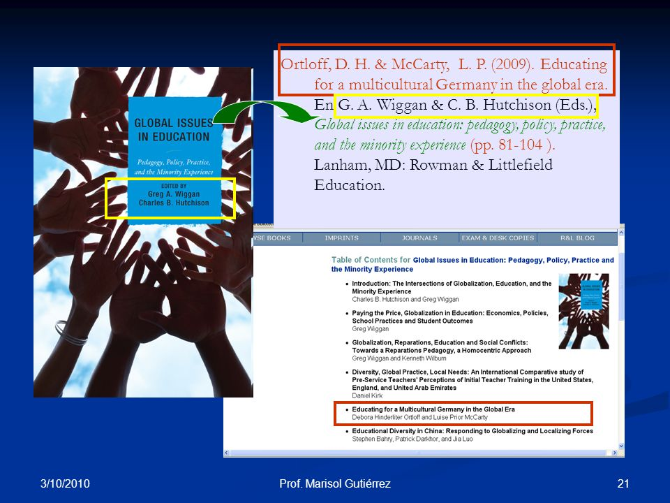 3/10/2010 21Prof. Marisol Gutiérrez Ortloff, D. H. & McCarty, L. P. (2009). Educating for a multicultural Germany in the global era. En G. A. Wiggan &