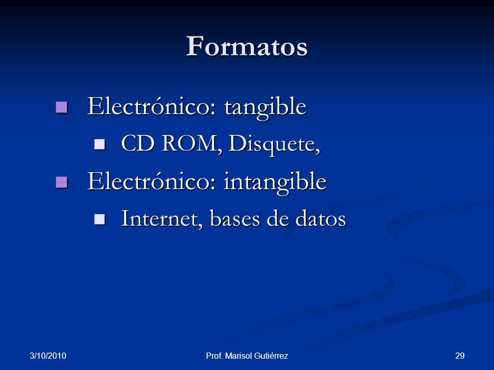 3/10/2010 29Prof. Marisol Gutiérrez Electrónico: tangible Electrónico: tangible CD ROM, Disquete, CD ROM, Disquete, Electrónico: intangible Electrónic