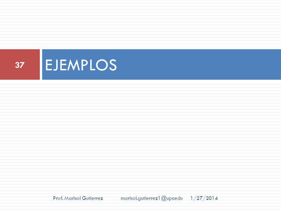 EJEMPLOS 1/27/2014 37 Prof. Marisol Gutierrez marisol.gutierrez1@upr.edu