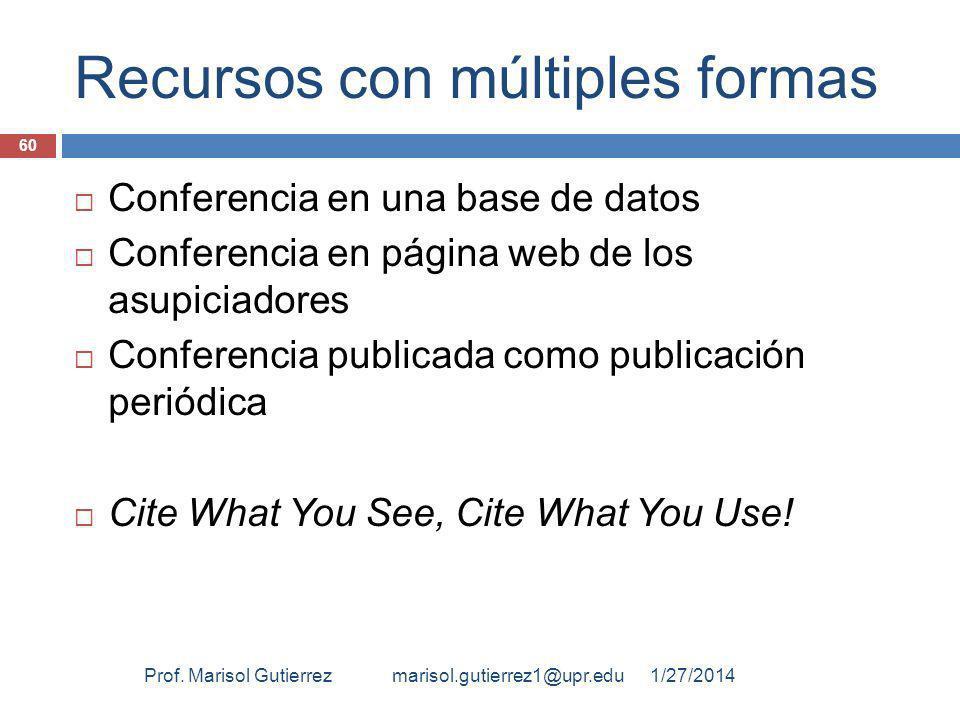 Recursos con múltiples formas Conferencia en una base de datos Conferencia en página web de los asupiciadores Conferencia publicada como publicación periódica Cite What You See, Cite What You Use.
