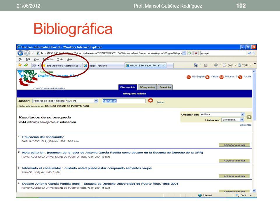 Índices Bases de datos Bibliográficos Abstractos o resúmenes Texto completo 21/06/2012Prof. Marisol Gutiérez Rodríguez 101