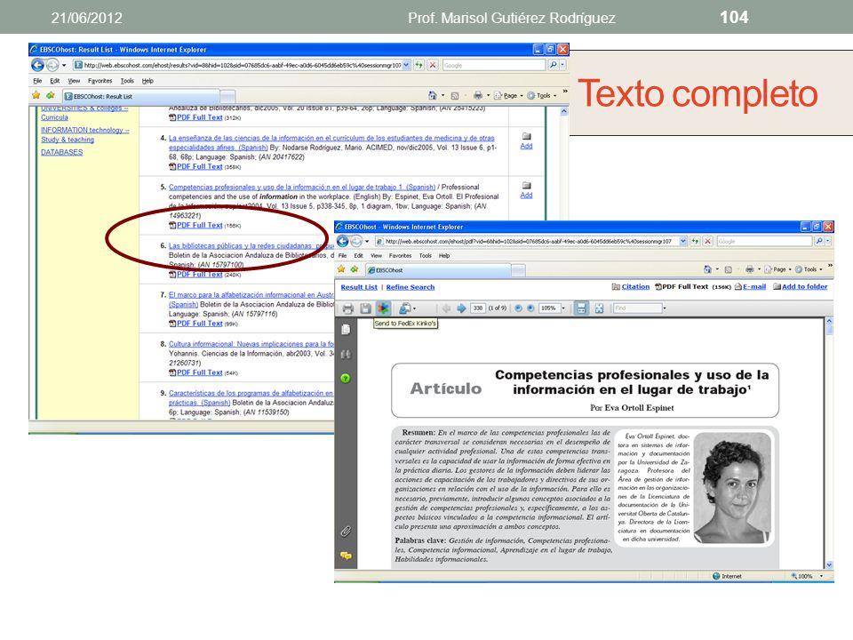 Abstractos o resúmenes 21/06/2012Prof. Marisol Gutiérez Rodríguez 103