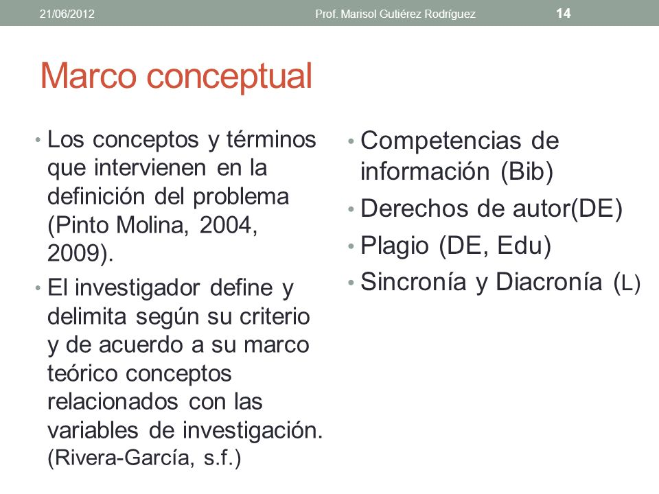 Ejercicio ¿Qué teorías conoces que puedas utilizar en tu investigación? 21/06/2012Prof. Marisol Gutiérez Rodríguez 13
