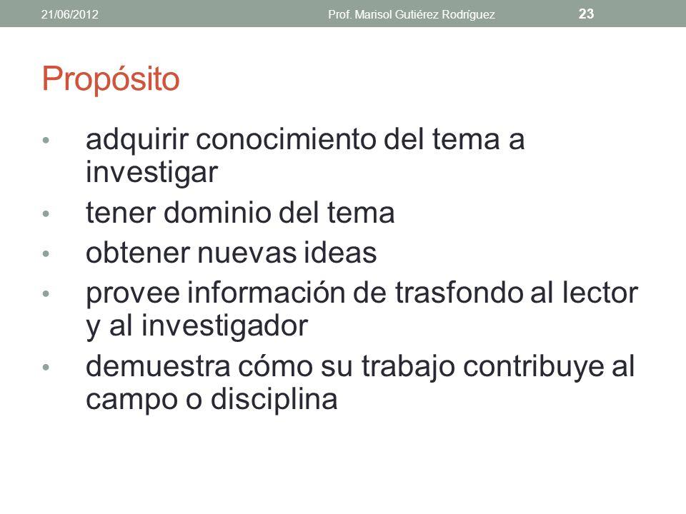 Ejercicio Contesta lo siguiente: ¿Cuál es el propósito de la revisión de literatura? 21/06/2012Prof. Marisol Gutiérez Rodríguez 22