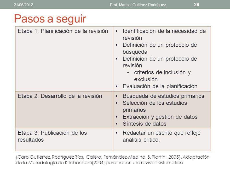 Pasos a seguir Paso 1: Elección de las palabras clave y elaboración de la frase de búsqueda Paso 2: Búsqueda de información en libros y tesis doctoral