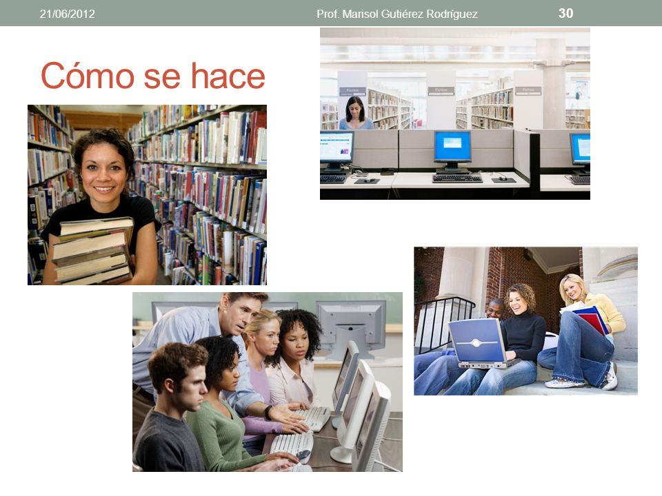 FUENTES DE INFORMACIÓN (INVESTIGACIÓN DOCUMENTAL) identificar, descubrir, localizar, adquirir y consultar información 21/06/2012Prof. Marisol Gutiérez