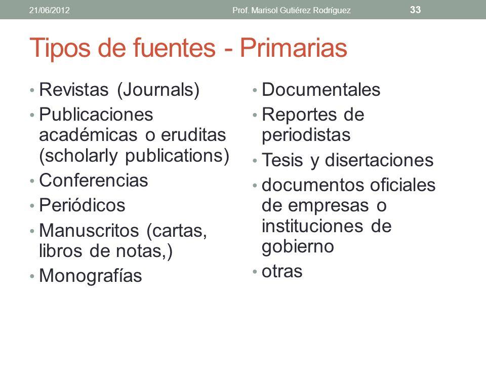 Tipos de fuentes - Primarias Aquellas donde el investigador presenta por primera vez los resultados de su trabajo a través de un reporte de investigac