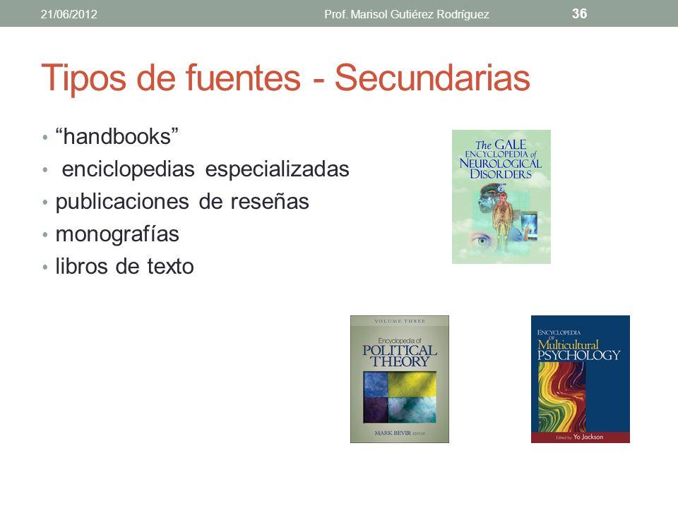 Tipos de fuentes - Secundarias Aquellas donde se resume o sintetiza lo que se publicó en fuentes primarias. Reprocesan la información primaria, la res