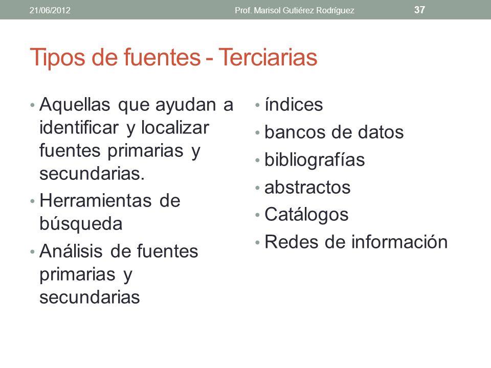 Tipos de fuentes - Secundarias handbooks enciclopedias especializadas publicaciones de reseñas monografías libros de texto 21/06/2012Prof. Marisol Gut