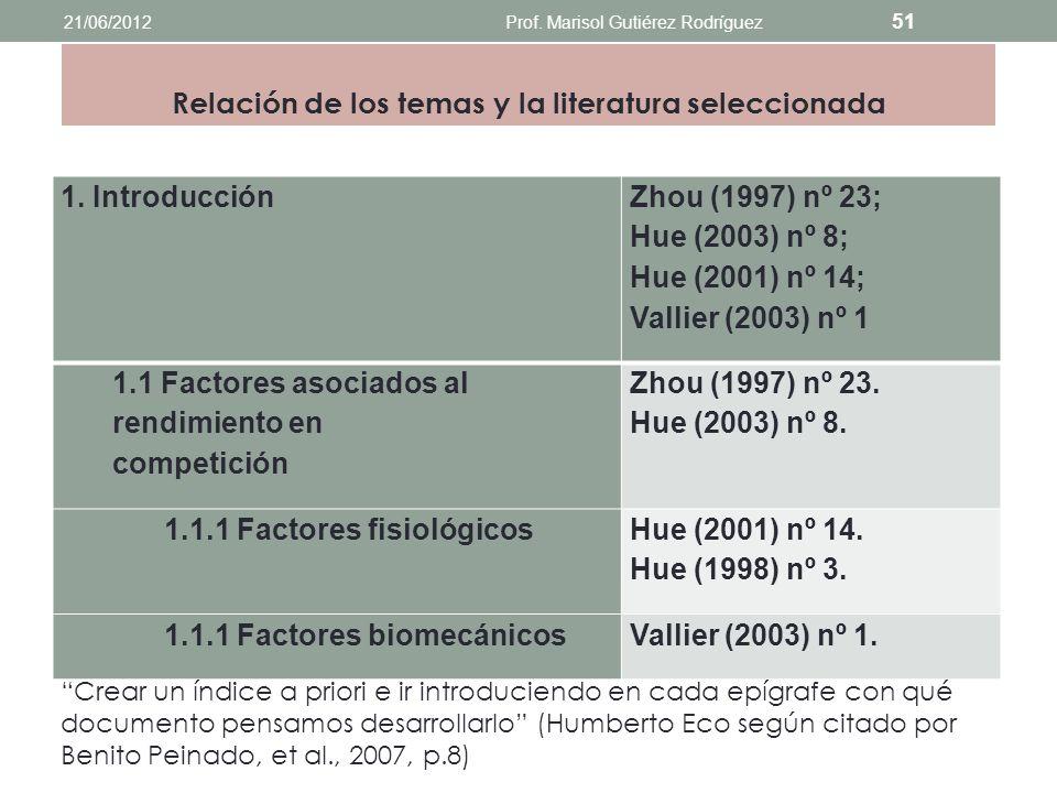 Relación de los temas y la literatura seleccionada 21/06/2012Prof. Marisol Gutiérez Rodríguez 50