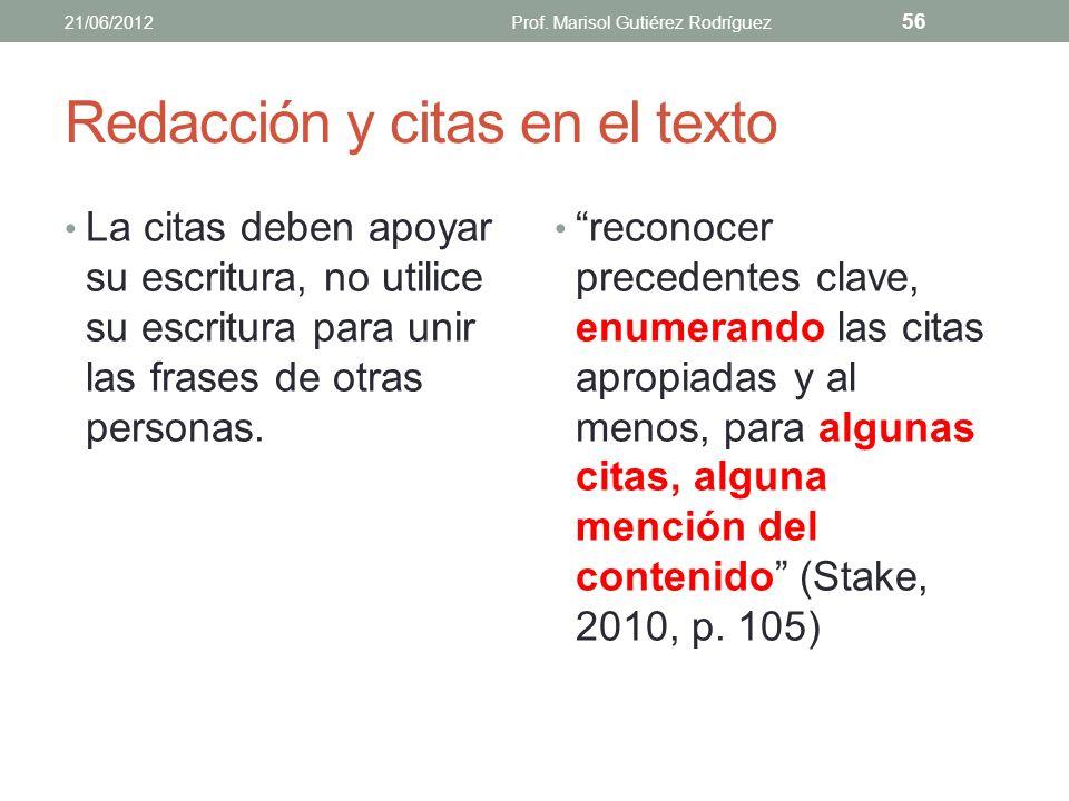 Redacción No debe realizarse un corta y pega de cada cita o resumen de lo que se cita en cada fuente bibliográfica. Evite el plagio. 21/06/2012Prof. M