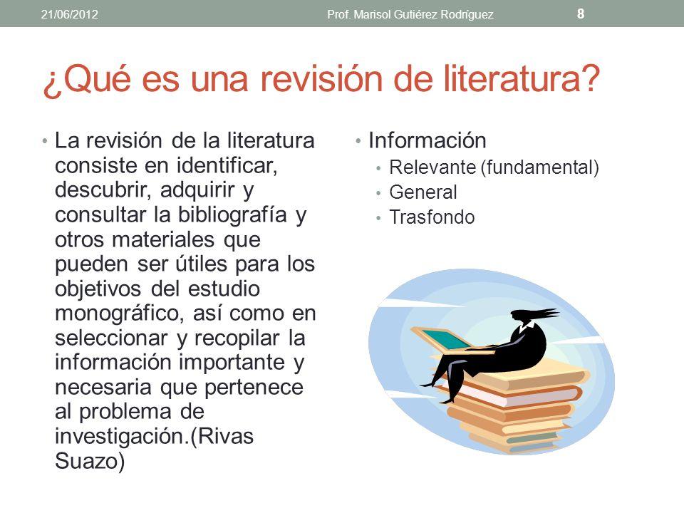 ¿Qué es una revisión de literatura? Es un recuento de lo que han publicado expertos e investigadores sobre un tema. Resumen y análisis crítico de artí