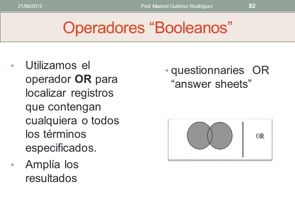 Operadores Booleanos Utilizamos el operador AND para localizar registros que contengan todos los términos de búsqueda especificados. Limita la búsqued