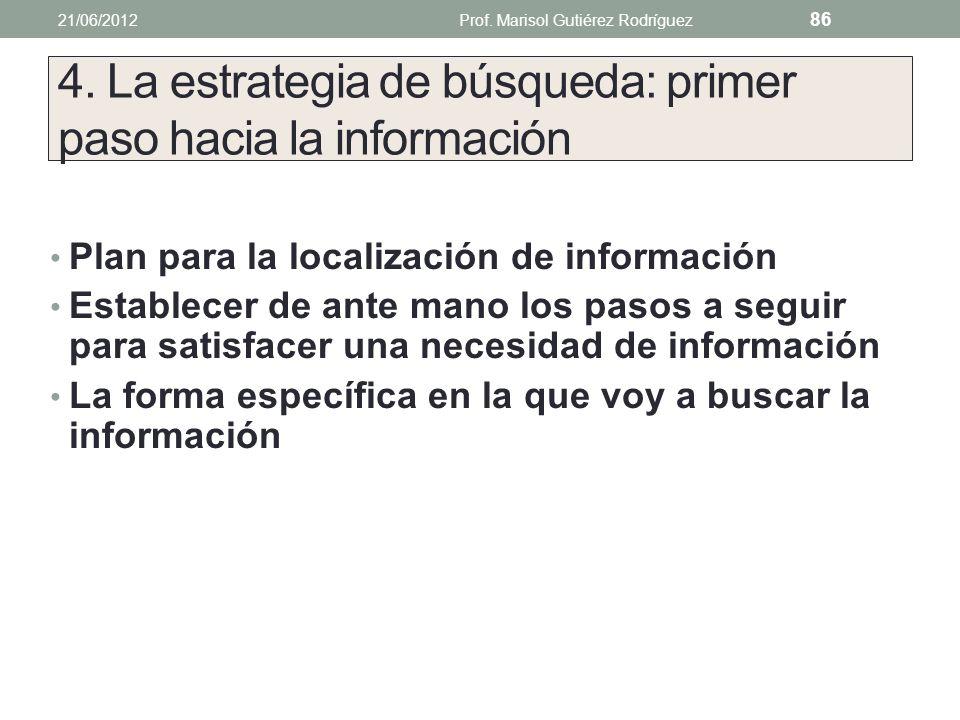 Otras variantes de búsqueda 21/06/2012Prof. Marisol Gutiérez Rodríguez 85