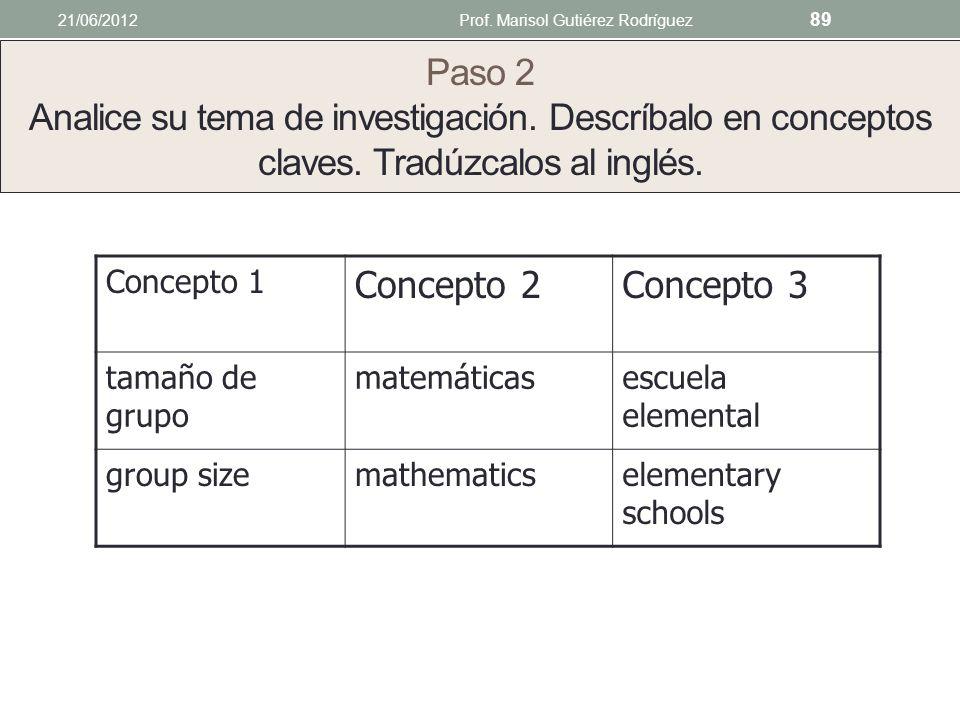 Paso 1 Exprese su tema de investigación en una oración o pregunta o hipótesis Ejemplo El tamaño de grupo es un factor que afecta el aprendizaje y la e