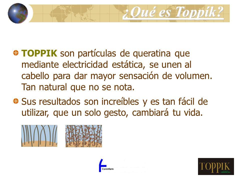 TOPPIK son partículas de queratina que mediante electricidad estática, se unen al cabello para dar mayor sensación de volumen. Tan natural que no se n