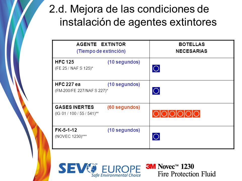 AGENTE EXTINTOR (Tiempo de extinción) BOTELLAS NECESARIAS HFC 125 (10 segundos) (FE 25 / NAF S 125)* HFC 227 ea (10 segundos) (FM-200/FE 227/NAF S 227