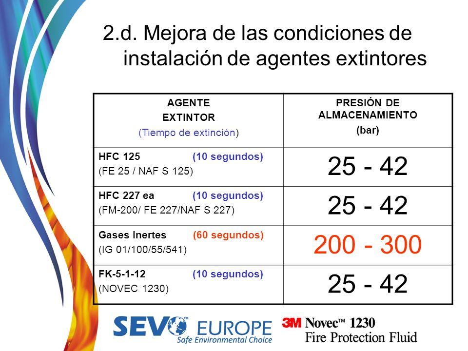 2.d. Mejora de las condiciones de instalación de agentes extintores AGENTE EXTINTOR (Tiempo de extinción) PRESIÓN DE ALMACENAMIENTO (bar) HFC 125 (10