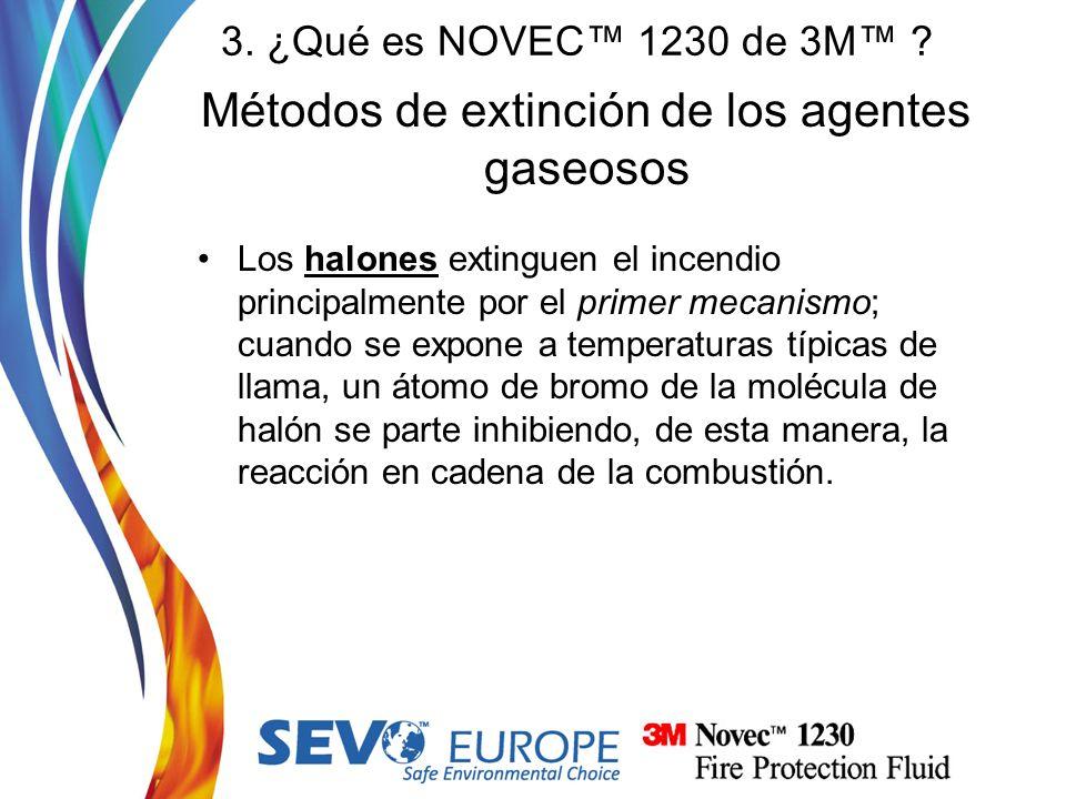 Métodos de extinción de los agentes gaseosos Los halones extinguen el incendio principalmente por el primer mecanismo; cuando se expone a temperaturas