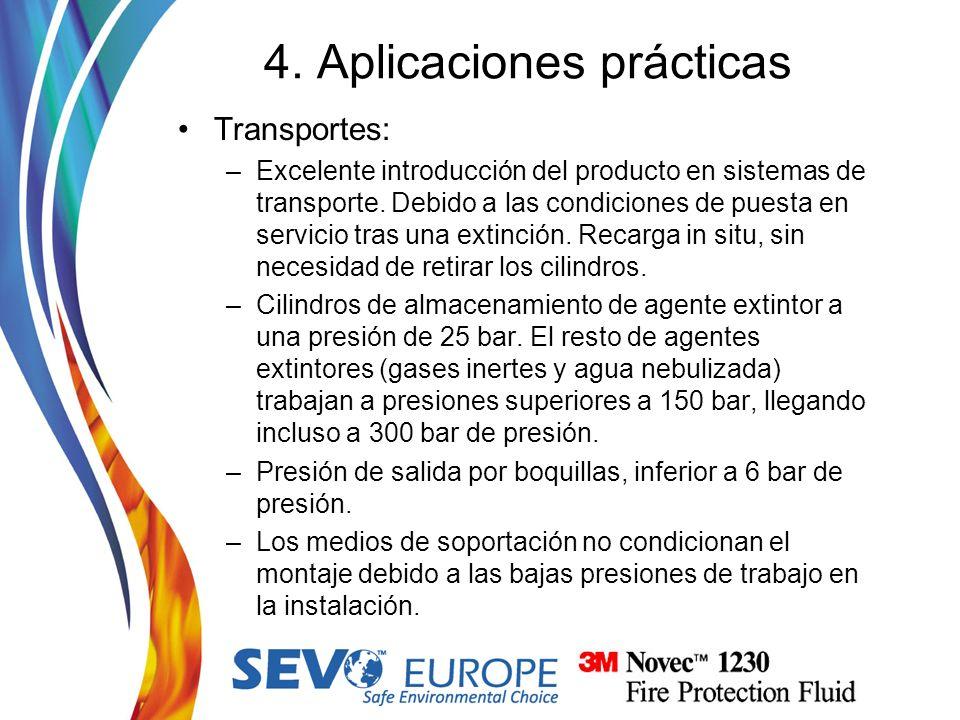 Transportes: –Excelente introducción del producto en sistemas de transporte. Debido a las condiciones de puesta en servicio tras una extinción. Recarg
