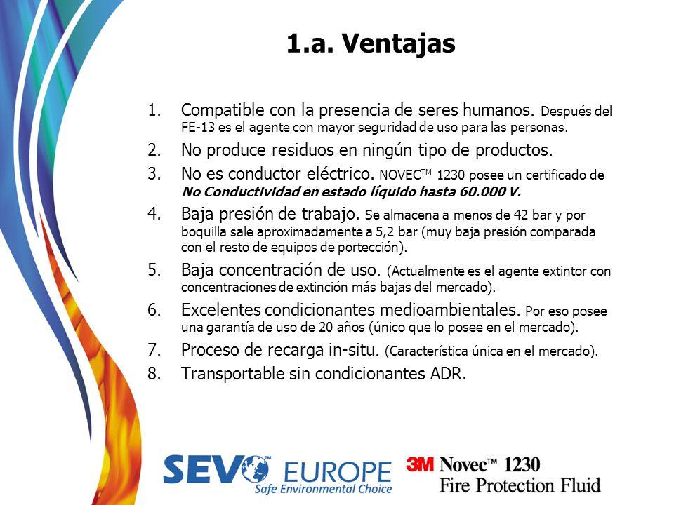 1.a. Ventajas 1.Compatible con la presencia de seres humanos. Después del FE-13 es el agente con mayor seguridad de uso para las personas. 2.No produc