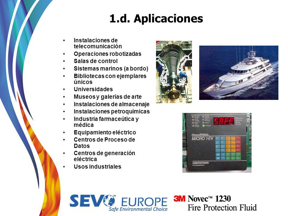 1.d. Aplicaciones Instalaciones de telecomunicación Operaciones robotizadas Salas de control Sistemas marinos (a bordo) Bibliotecas con ejemplares úni