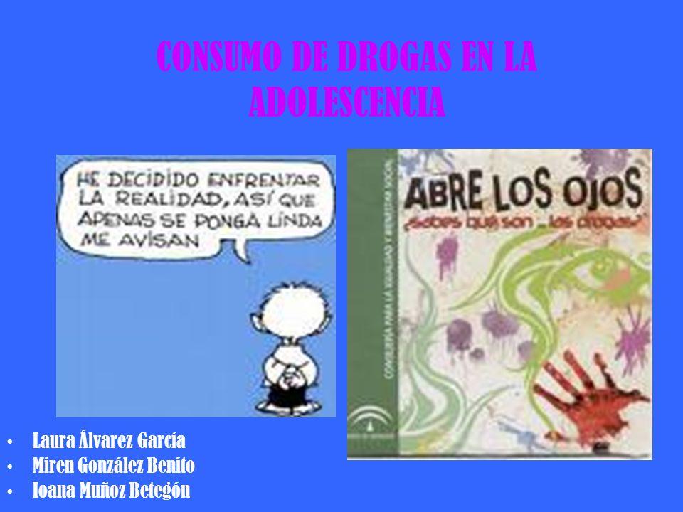 CONSUMO DE DROGAS EN LA ADOLESCENCIA Laura Álvarez García Miren González Benito Ioana Muñoz Betegón