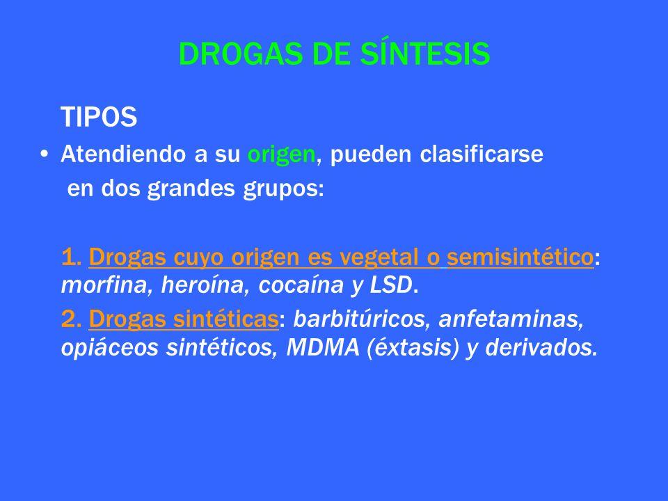 DROGAS DE SÍNTESIS TIPOS Atendiendo a su origen, pueden clasificarse en dos grandes grupos: 1. Drogas cuyo origen es vegetal o semisintético: morfina,