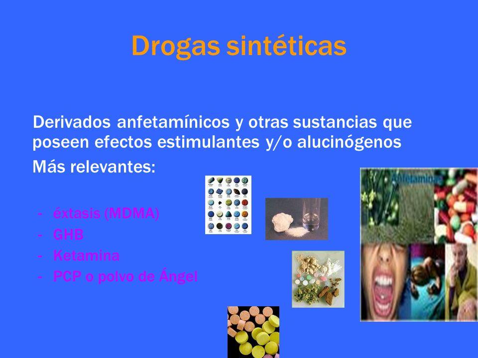 Derivados anfetamínicos y otras sustancias que poseen efectos estimulantes y/o alucinógenos Más relevantes: -éxtasis (MDMA) -GHB -Ketamina -PCP o polv