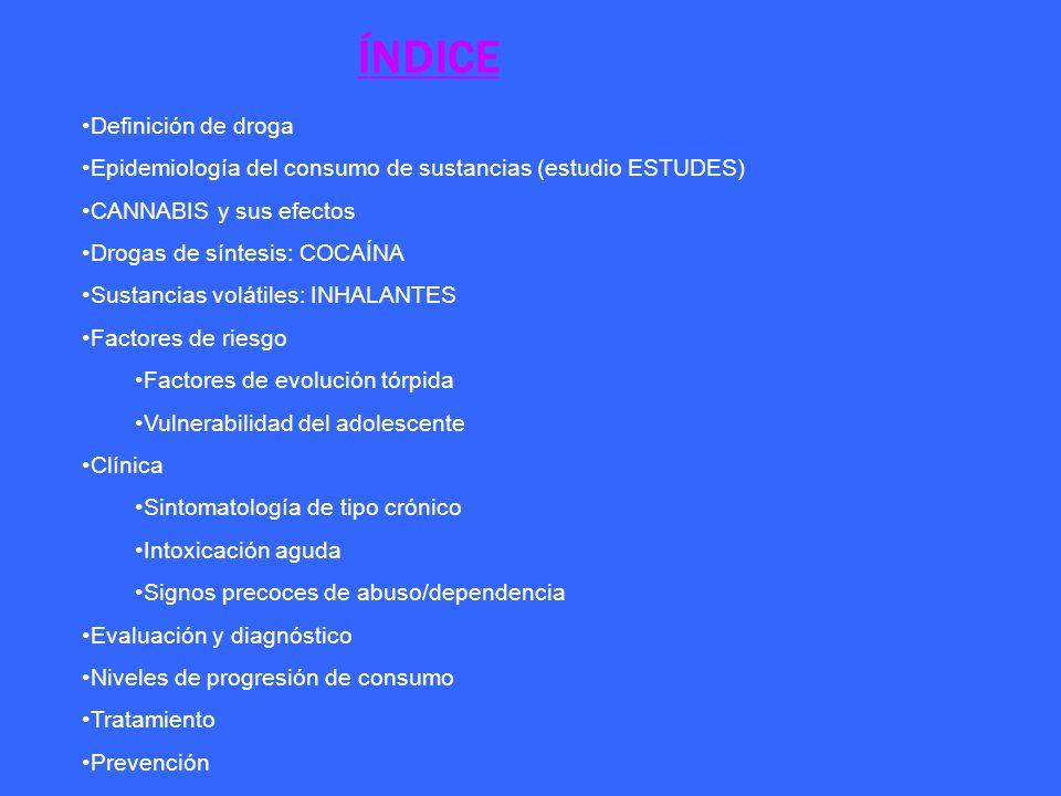 ÍNDICE Definición de droga Epidemiología del consumo de sustancias (estudio ESTUDES) CANNABIS y sus efectos Drogas de síntesis: COCAÍNA Sustancias vol