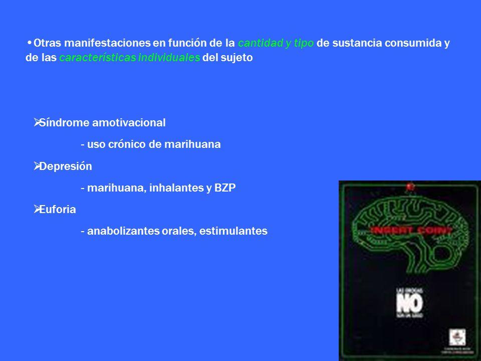 Otras manifestaciones en función de la cantidad y tipo de sustancia consumida y de las características individuales del sujeto Síndrome amotivacional