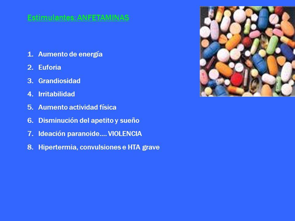 Estimulantes: ANFETAMINAS 1.Aumento de energía 2.Euforia 3.Grandiosidad 4.Irritabilidad 5.Aumento actividad física 6.Disminución del apetito y sueño 7