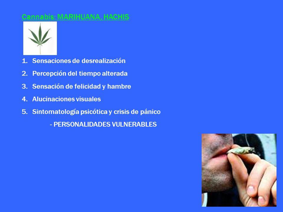 Cannabis: MARIHUANA, HACHIS 1.Sensaciones de desrealización 2.Percepción del tiempo alterada 3.Sensación de felicidad y hambre 4.Alucinaciones visuale
