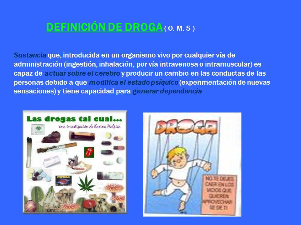 DEFINICIÓN DE DROGA ( O. M. S ) Sustancia que, introducida en un organismo vivo por cualquier vía de administración (ingestión, inhalación, por vía in