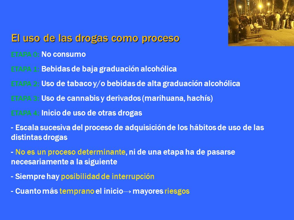 El uso de las drogas como proceso ETAPA 0 : No consumo ETAPA 1 : Bebidas de baja graduación alcohólica ETAPA 2 : Uso de tabaco y/o bebidas de alta gra