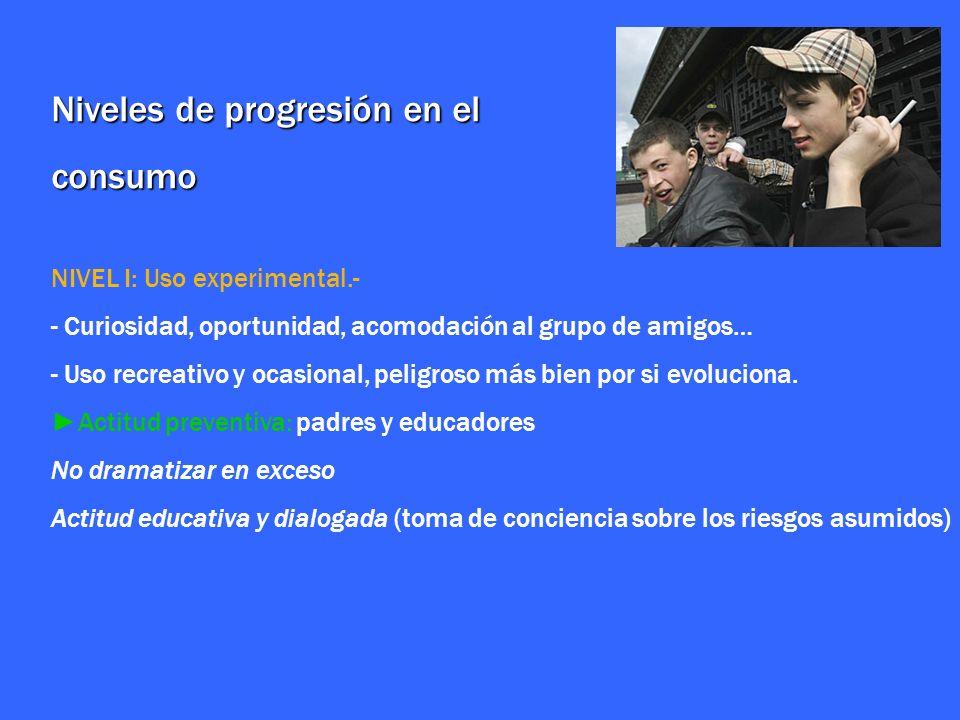 Niveles de progresión en el consumo NIVEL I: Uso experimental.- - Curiosidad, oportunidad, acomodación al grupo de amigos… - Uso recreativo y ocasiona