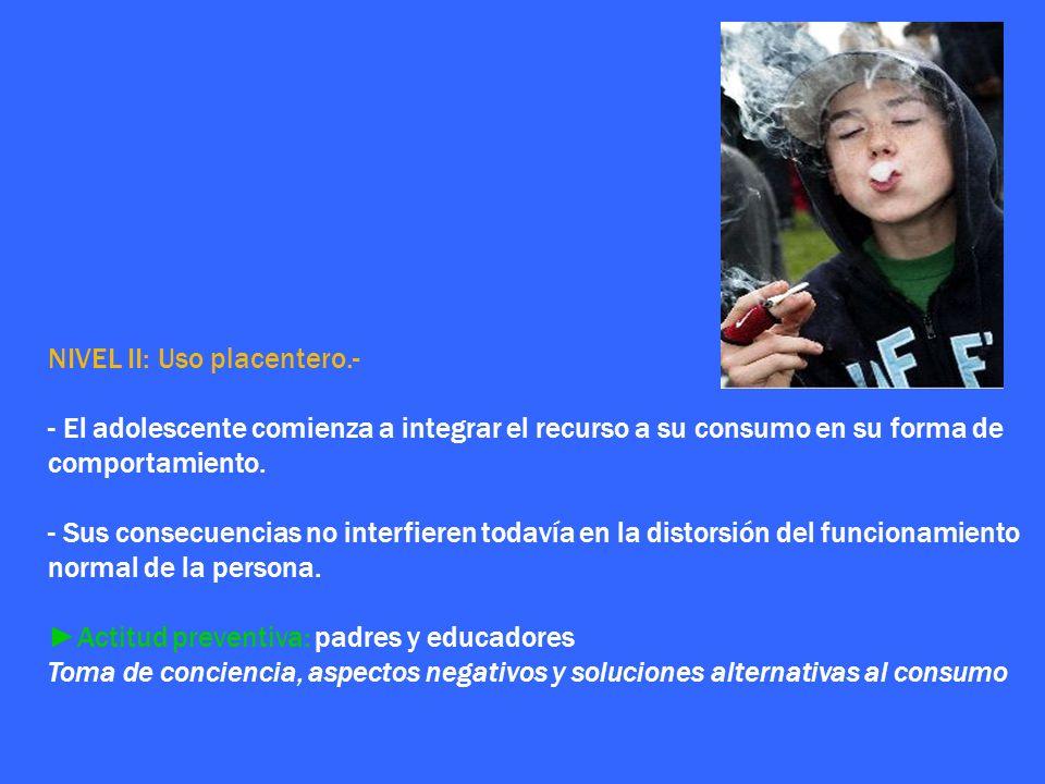 NIVEL II: Uso placentero.- - El adolescente comienza a integrar el recurso a su consumo en su forma de comportamiento. - Sus consecuencias no interfie