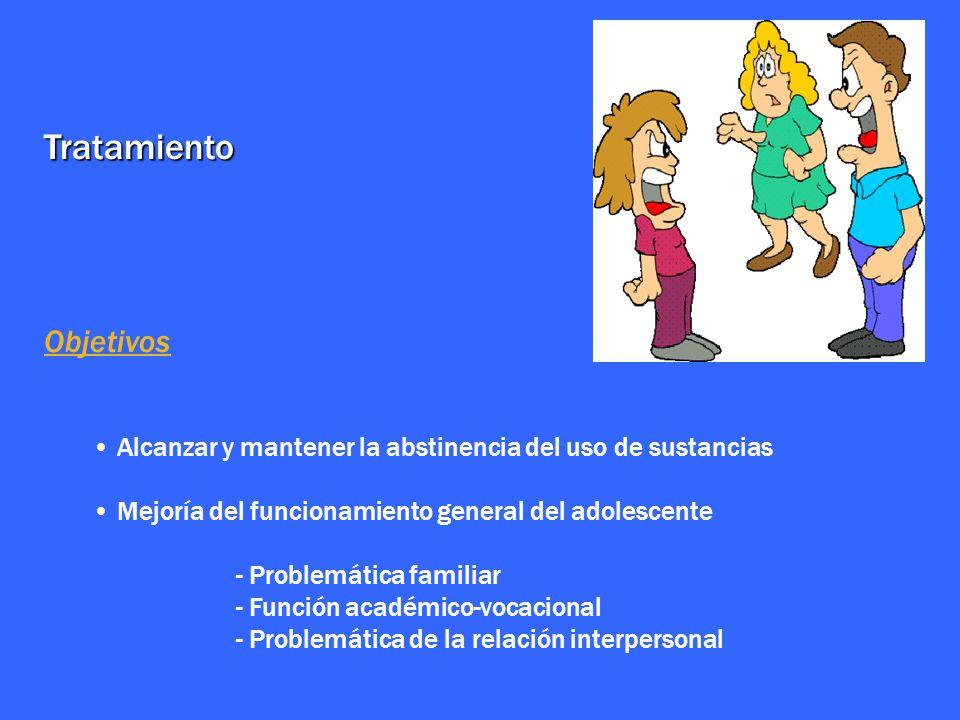 Tratamiento Objetivos Alcanzar y mantener la abstinencia del uso de sustancias Mejoría del funcionamiento general del adolescente - Problemática famil