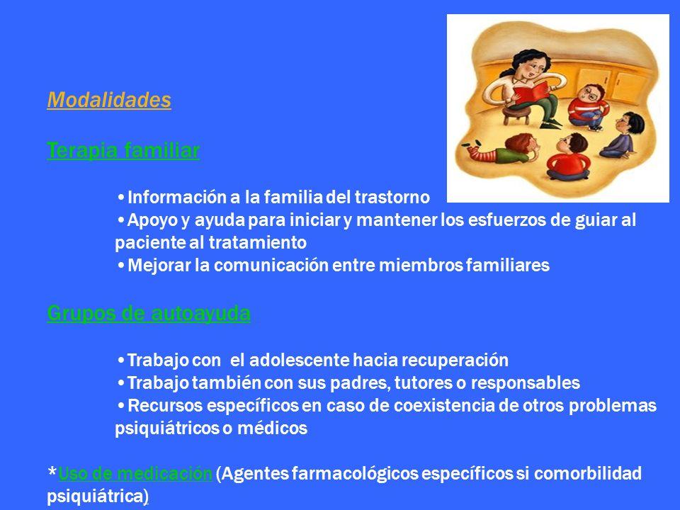 Modalidades Terapia familiar Información a la familia del trastorno Apoyo y ayuda para iniciar y mantener los esfuerzos de guiar al paciente al tratam
