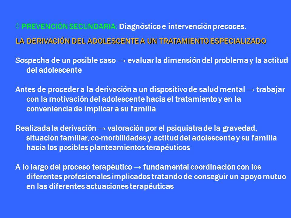 PREVENCIÓN SECUNDARIA: Diagnóstico e intervención precoces. LA DERIVACIÓN DEL ADOLESCENTE A UN TRATAMIENTO ESPECIALIZADO Sospecha de un posible caso e
