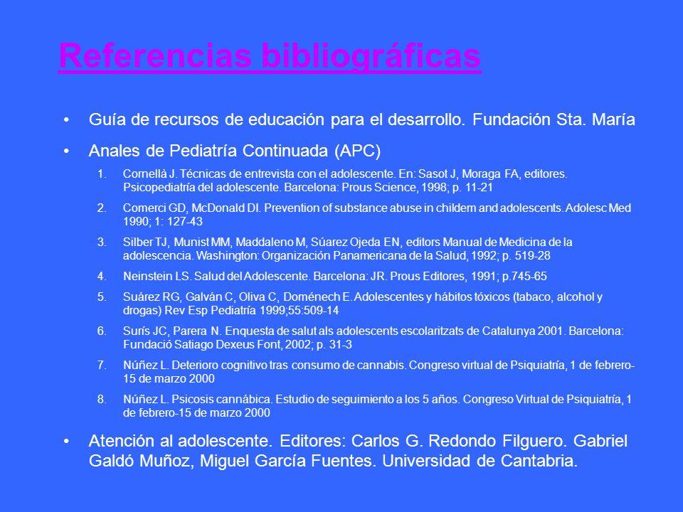 Referencias bibliográficas Guía de recursos de educación para el desarrollo. Fundación Sta. María Anales de Pediatría Continuada (APC) 1.Cornellà J. T