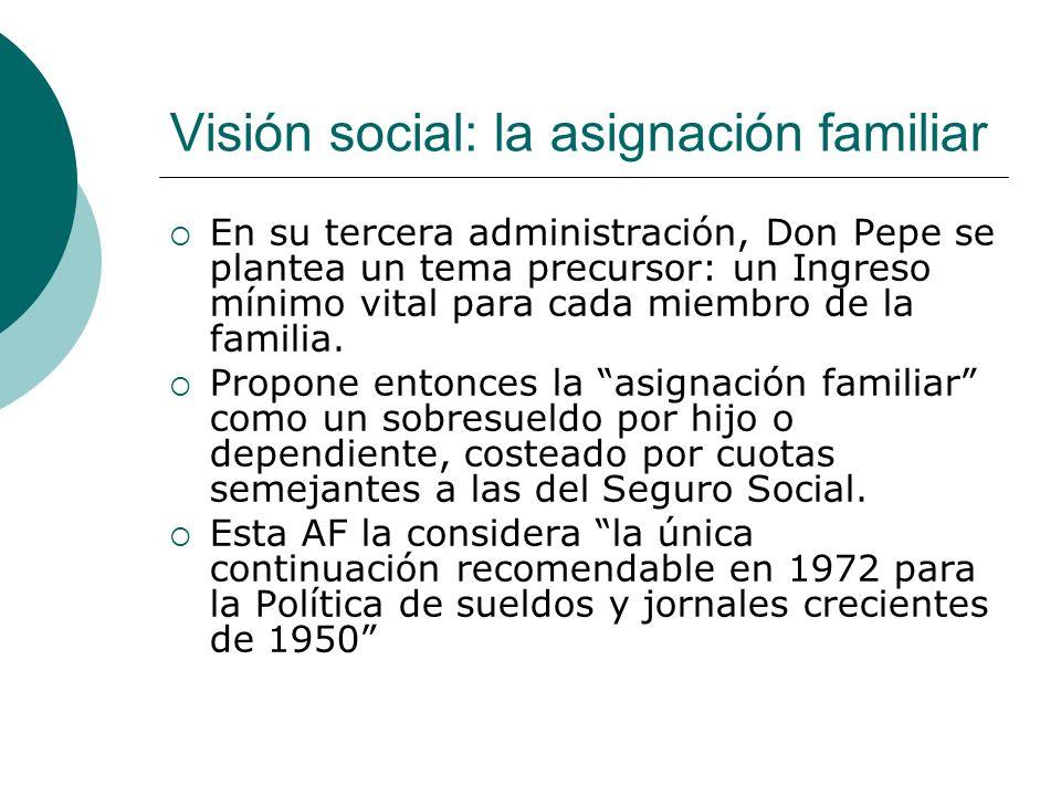 Visión social: la asignación familiar En su tercera administración, Don Pepe se plantea un tema precursor: un Ingreso mínimo vital para cada miembro d