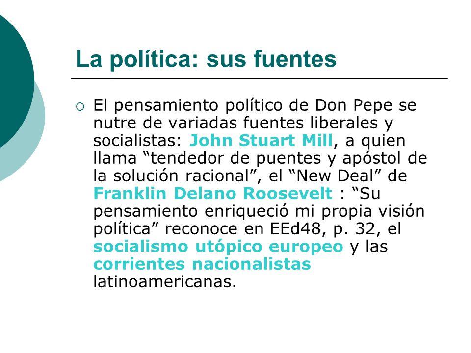 La política: sus fuentes El pensamiento político de Don Pepe se nutre de variadas fuentes liberales y socialistas: John Stuart Mill, a quien llama ten